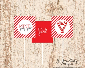 MINT To Be A Girly Girl - Candy Cane Cupcake Toppers