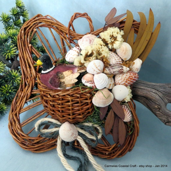 Items similar to duck wall pocket decor basket with sea for Beachy decor items