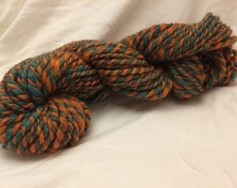 Handspun Wool Yarn, 2-ply, Teal/Pumpkin, Heavy Worsted, Approx 75 Yards