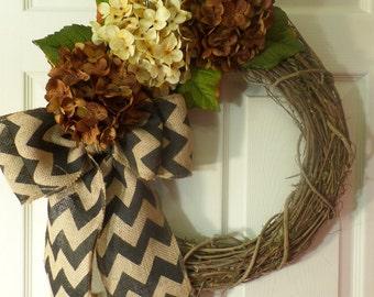 Wreath -  fall wreath -  monogram wreath -  grapevine wreath - burlap wreath.wedding decor.rustic.home decor.handmade