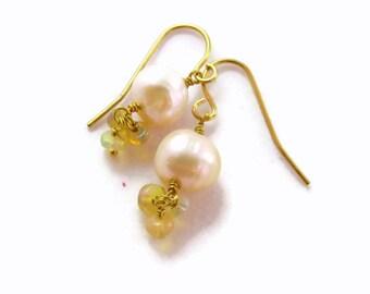 PEARL And OPAL DANGLE Earrings, Pearl Bridal Earrings, Wedding Jewelry, Wedding Earrings, Pearl Bridesmaids Earrings, Opal Bridesmaid Gifts