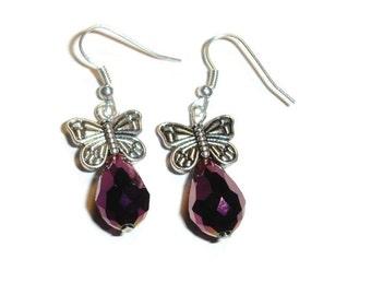 Burgundy  Butterfly Earrings