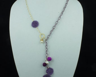 Purple Silk Chain Necklace.  Goldfilled.  Statement Necklace