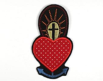 Patch Anchor heart Cross 12 x 6cm