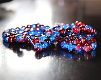 100 approx. red and blue 8 mm crackle glass beads, 1mm hole, Americana colors, round