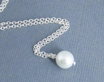 Pearl Pendant Necklace - Swarovisk Pearl Necklace - Necklace for Mom, Bridesmaid Necklace, Bridal Necklace, Wedding Necklace