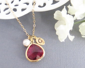 Personalized Necklace, Valentines Day - Ruby Stone and Pearl - Gift for Her, Gift for Best Friend, Birthday Gift, Gift for Mom, Gemstone