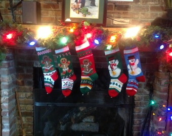 Hand Knit Christmas Stockings with Snowman Gingerbread Man