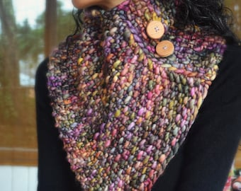 The Regal Cowl- knit, chunky, triangle scarf, with oak buttons