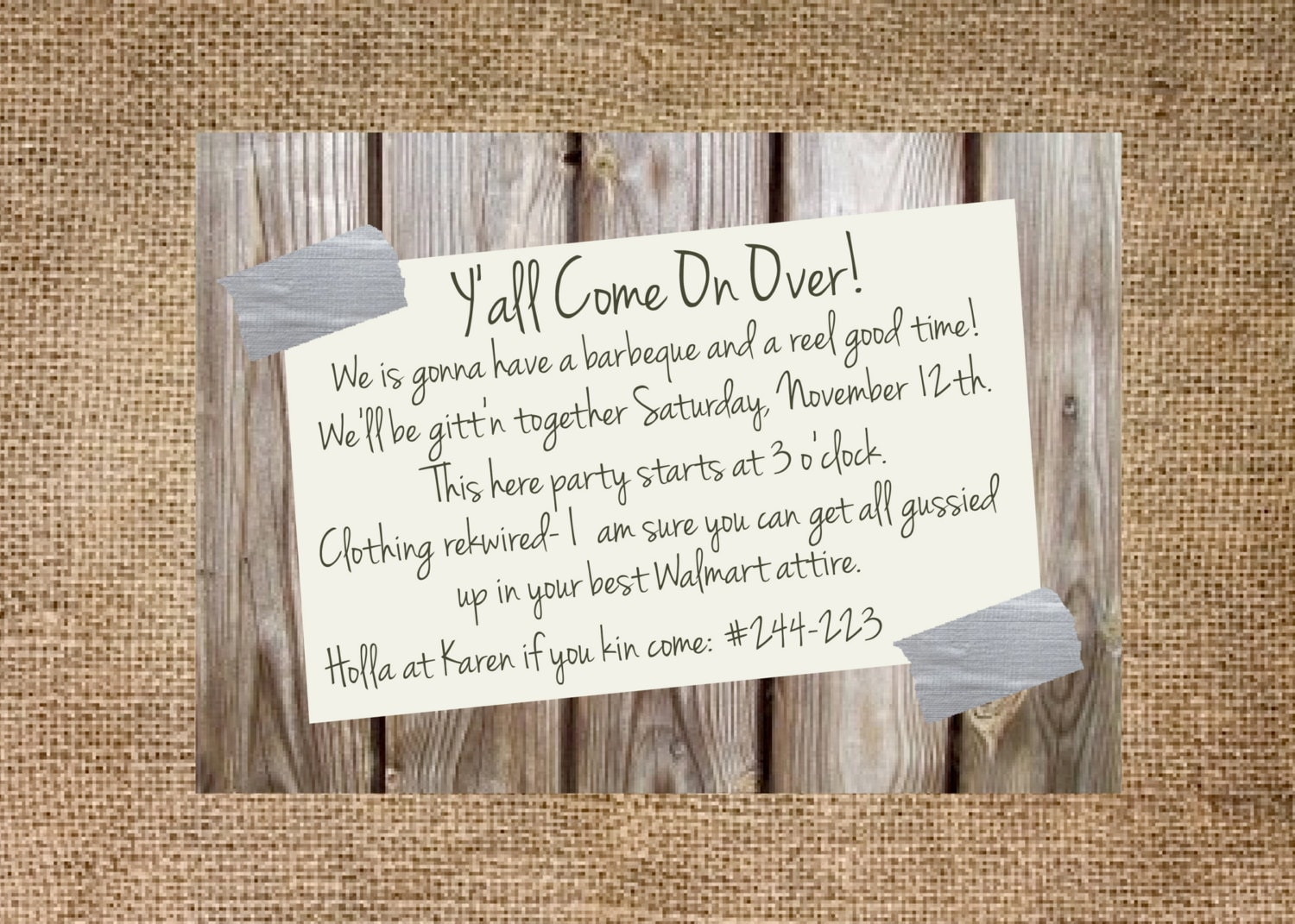 Redneck Christmas Party Ideas Part - 37: Christmas Scavenger Hunt Photo Ideas - Redneck Party Invitation  Personalized And Printable 5x7