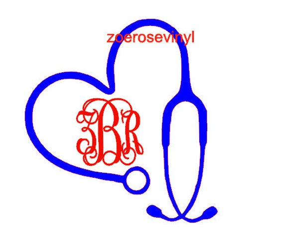 Nurse Heart Stethoscope Monogram Vinyl Decal