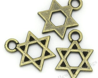20 Star charms in  Antique Tibetan Bronze metal Charms - Star of David  Scrapbooking Charms - Jewelry Making Findings * MC0173