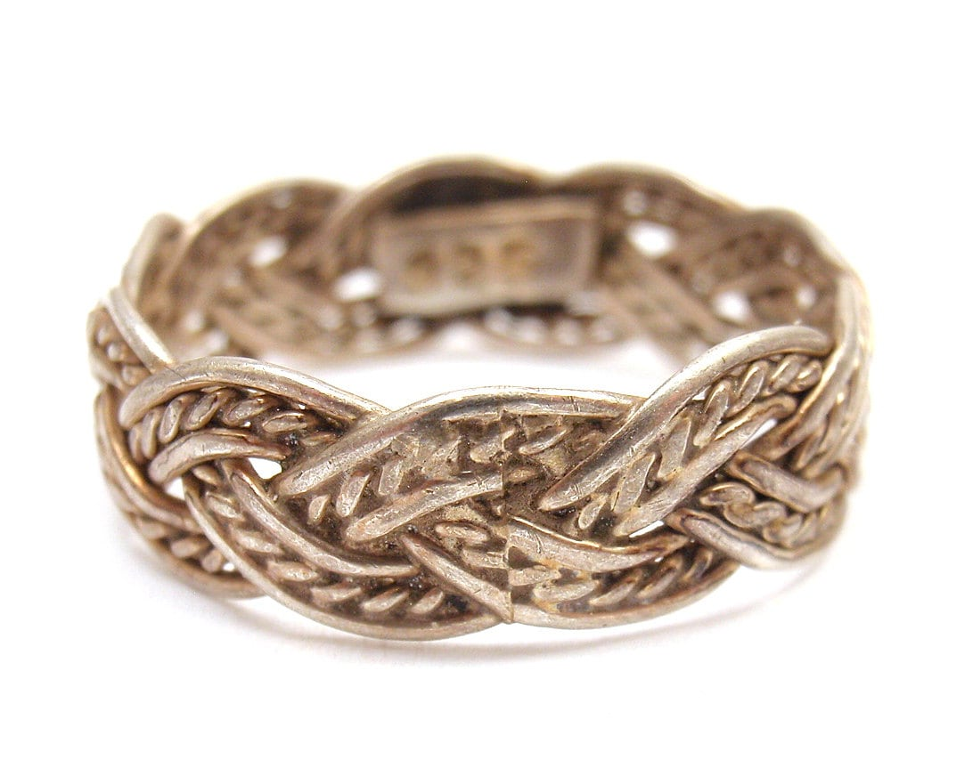 silver 7mm weave band ring sz 7 resize available by shoplucky