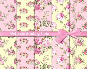 """Roses digital paper : """"Delicate Shabby Chic"""" pink shabby chic digital paper with pink roses on yellow and pink background, floral papers"""