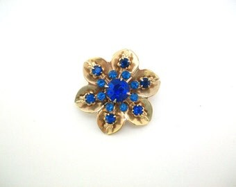 Blue Rhinestone Pin, Blue Rhinestone Brooch, Blue Flower Pin, Blue Flower Brooch, Blue & Gold Pin, Blue and Gold Brooch Blue Brooch Blue Pin
