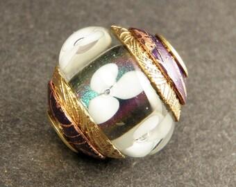 White Flowers Cored & Capped Handmade Lampwork Glass Charm Bead - Hand Made Art Glass Large Hole Bracelet Beads -  SRA BHB ooak
