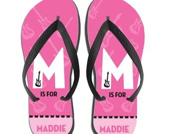 Kids Personalized Flip Flops - Pink Guitar Monogram, Custom Flip Flops