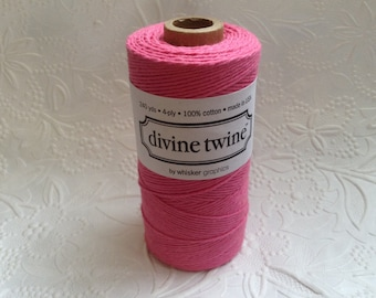 Solid Pink Bakers Twine 240 Yards Spool-Divine Twine-Cotton-4 ply-Biodegradable