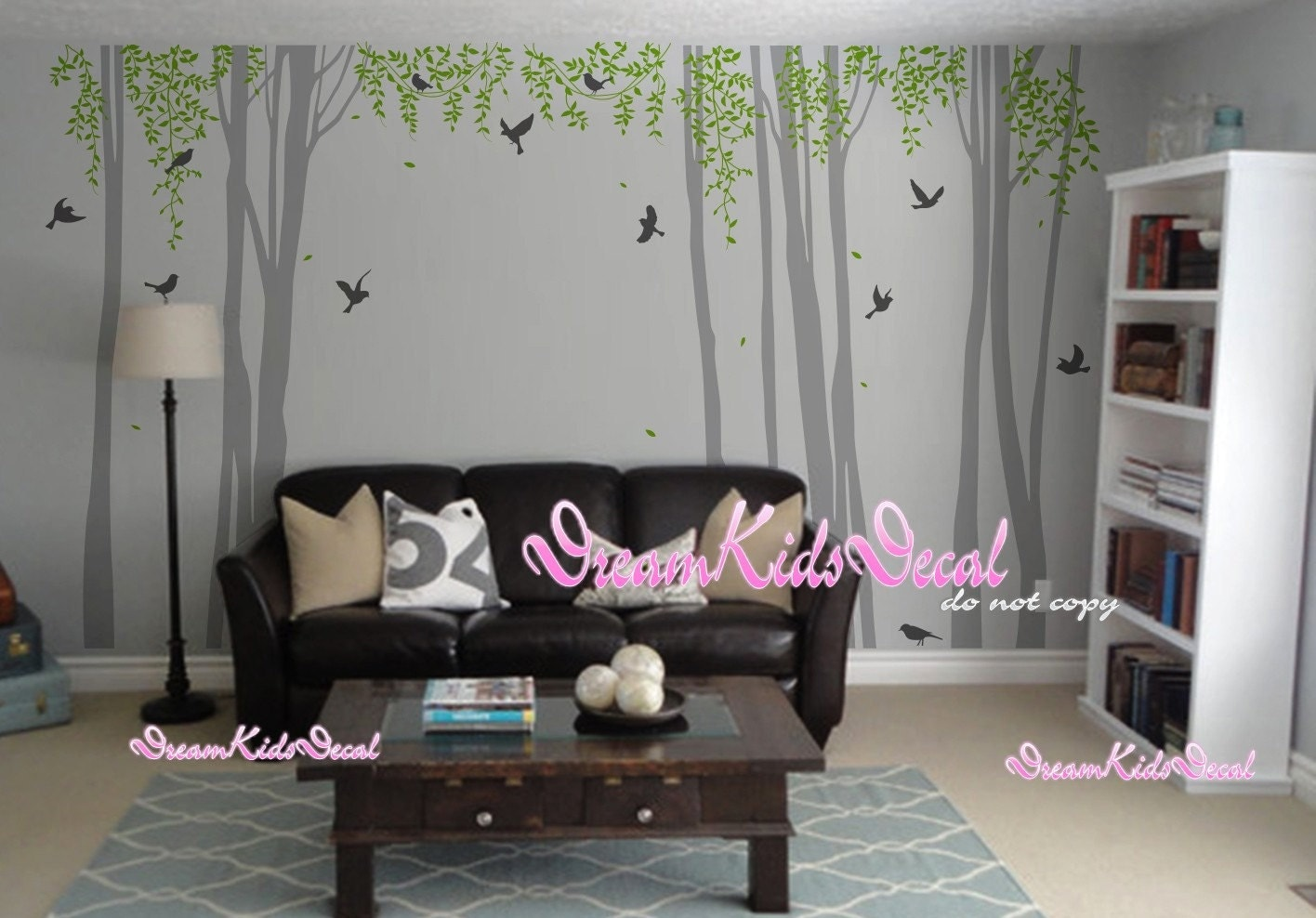 kinderzimmer wand aufkleber wei e baum mit v gel baby zimmer. Black Bedroom Furniture Sets. Home Design Ideas