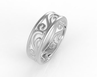 14kt White gold wedding band, ring wedding woman