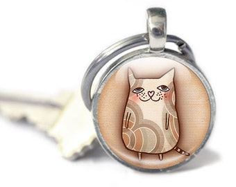 Cat Keyring, Cartoon Cat Key chain, gift for cat owner glass Keychain, Cute cat accessories, animal keyring, animal lover gift