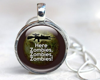Zombie Necklace, Zombie Pendant, Zombie Jewelry, Glass Pendant Necklace, photo pendant, photo jewellery, Zombie Humour, Funny Necklace