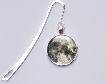 Space Bookmark, Photo Bookmark, picture bookmark, metal bookmark, reader gift, bookworm,  reading, Full Moon bookmark, glass bookmark
