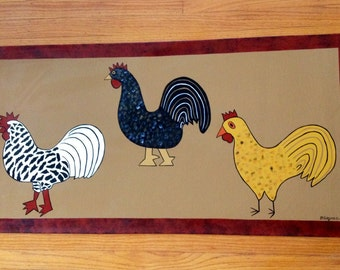 Painted Canvas Floorcloth or Table Runner with Folk Art Roosters