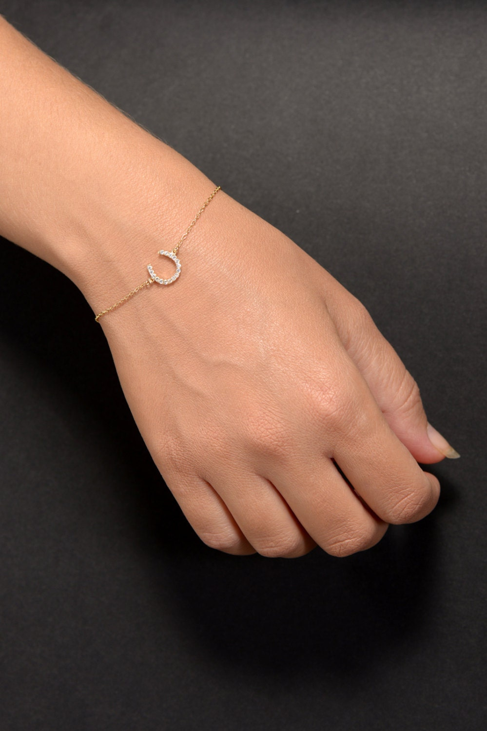 Lucky Horseshoe Bracelet in Gold Plating, Hand Made Israeli Jewelry