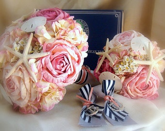 Beach Bouquet, Pink Beach Bouquet, Nautical Wedding Bouquet,  Nautical Wedding Flowers, Beach Bouquet Package, Nautical Bouquet Package
