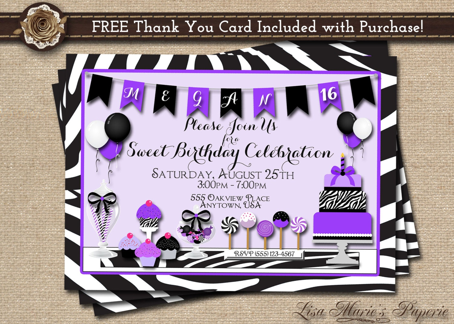 Sweet 16 invitation birthday invitation zebra birthday