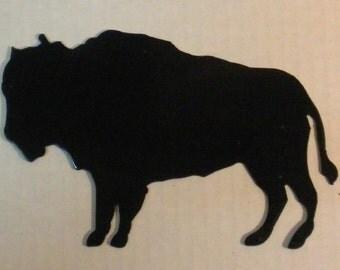 6 inch Buffalo Bison Black Metal Steel Wall Art Ornament Magnet Stencil
