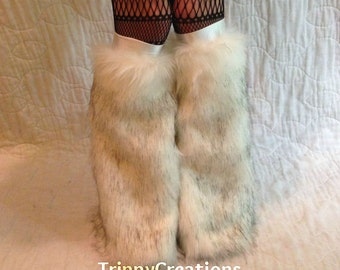 Fluffies white and black arctic husky fluffie leg warmers. Great for raves, festivals, and gogo dancers.