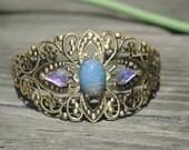 Blue Opal Bracelet - Blue and Gold Opal Bracelet - Opal Crystal Bracelet - Opal Jewelry Gold and Blue Bracelet Swarovski Crystal Vintage