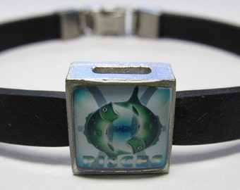 The Fish Pisces Zodiac Sign Link With Choice Of Colored Band Charm Bracelet
