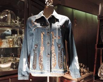 Vintage Jean Jacket.. Cats Coat XL Retro Mod 1990s