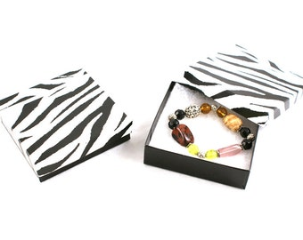 "New 50 Zebra Print Cotton Filled Gift Boxes Size 3 1/2"" X 3 1/2"