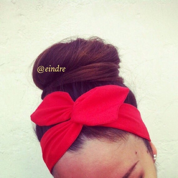 Vibrant Rosy Red Dolly Bow Headband, Wire Option Available