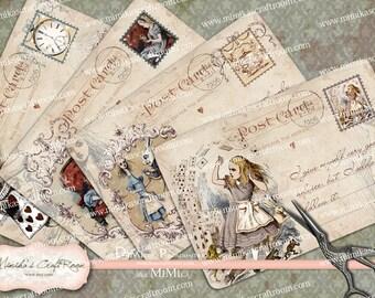 Alice in Wonderland Postcards 4x6 inches instant download printable images digital collage sheet scrapbook paper cards