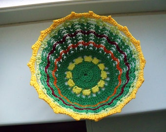 Mini basket in yellow, green, brown and orange