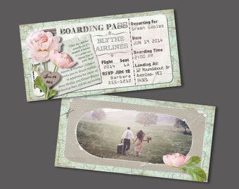 Peony Boarding Pass Invitation for Wedding, Birthday, Save The Date or Bon Voyage (DIY Printable Template Instant Download)