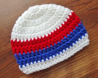 Crocheted Baby Boy Fourth of July Hat, Crocheted Baby Boy Beanie in White, Bright Red & Royal Blue, Newborn to 5T - MADE TO ORDER