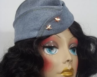 Denim, 1940s, garrison cap, hat, denim, blue, military style, designer, women. Sizes Sm, Med ,L. Free shipping in the USA.