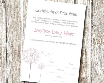 Dance certificate gymnastics certificate printable digital dandelion naming day certificate printable and personalised yadclub Image collections