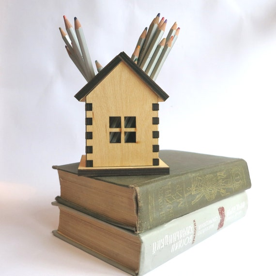 Items Similar To Wooden Pencil Holder, Small House Home