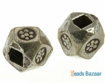 Karen Hill Tribe silver Faceted Printed Cube Spacer, 5.5mm