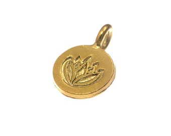 Gold vermeil Lotus Printed Round Charm, 10 mm  - Karen Hill tribe silver ( 6 pieces )