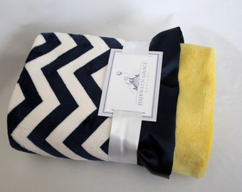 Navy and White Chevron with Spa Cuddle Yellow Minky and Navy Ruffle Trim Minky Baby Blanket -  Nautical, Baby boy or girl, Canary