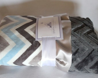 Powder Blue, Grey, Silver and White Chevron Print with Solid White Embossed Chevron Print,  Light Gray Satin Trim Minky Baby Blanket