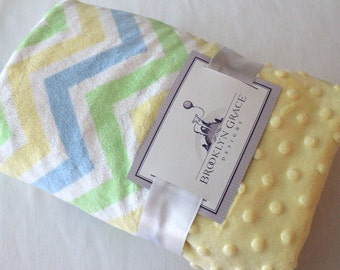 Baby Boy Pastel Chevron and Minky Dimple Dot Blanket - Yellow, Baby Blue, Mint Green, White - Blanket, Baby Shower, Crib Bedding, Nursery